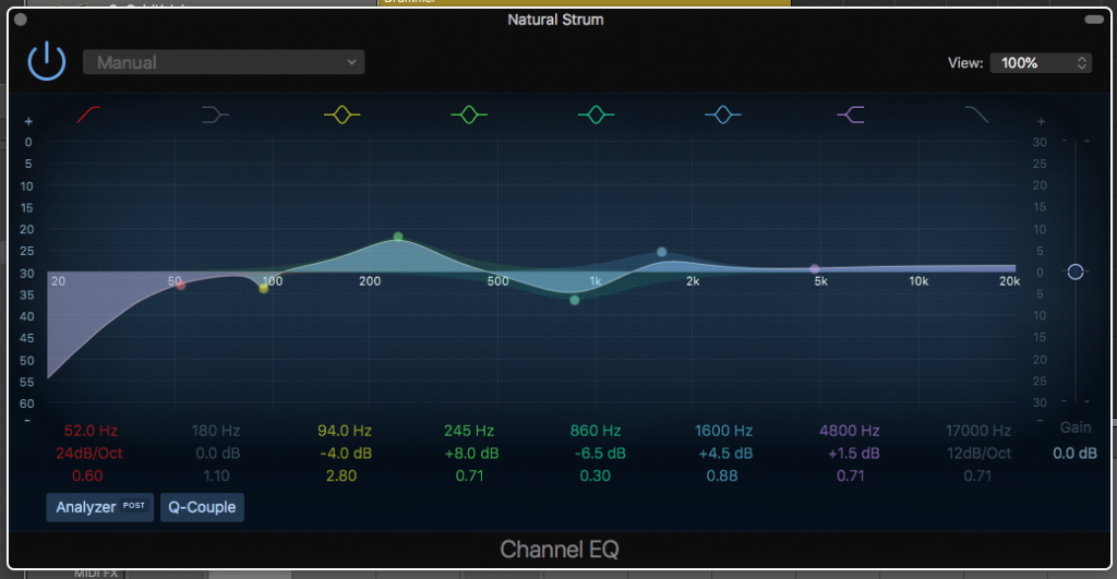 Frequencies on a parametric EQ