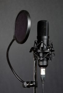 Using a pop filter on a condenser mic