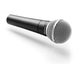 The Shure SM58 is a dynamic microphone that is popular for live and studio vocals.