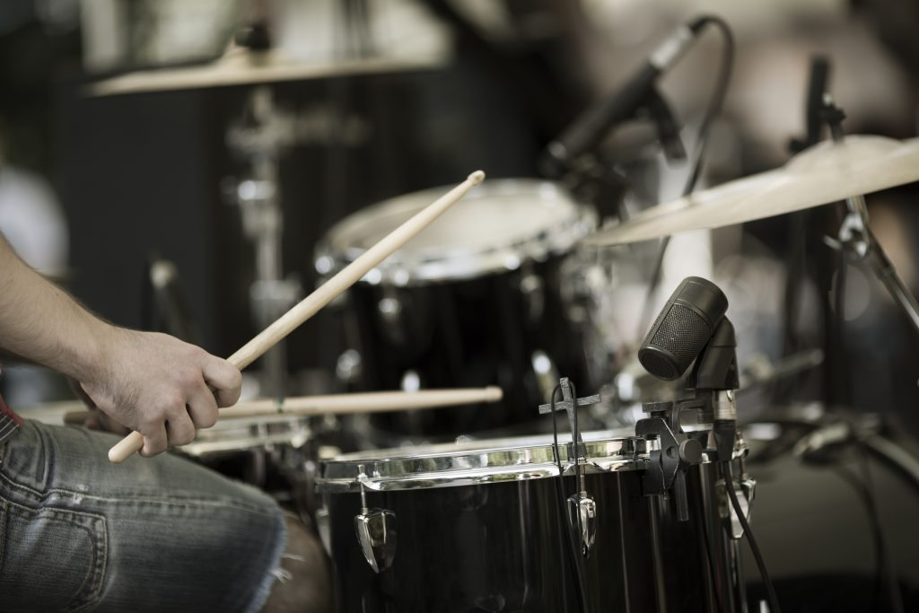 Drumset with microphones
