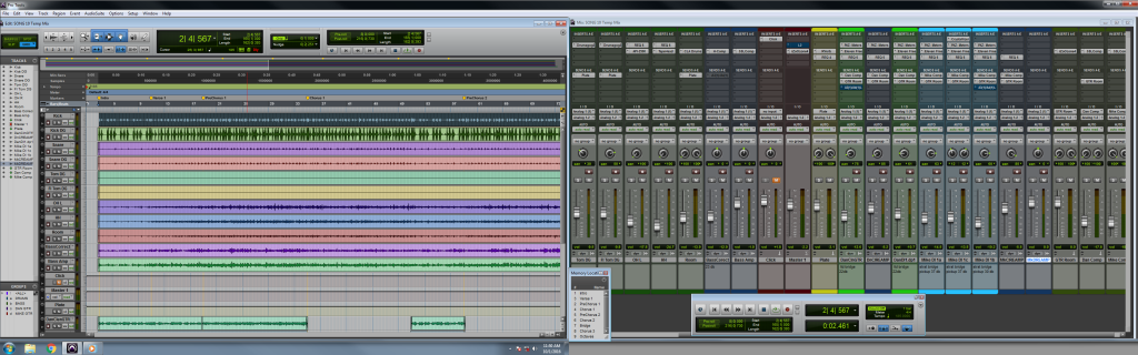 The Edit and Mix windows of a Pro Tools session (click for full-size)
