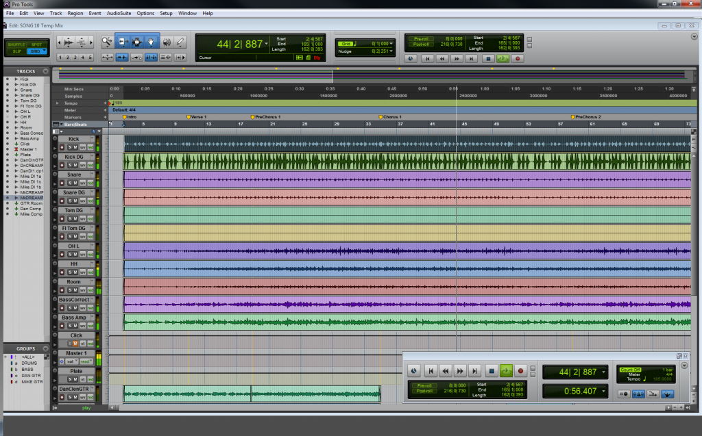Screenshot of a Pro Tools session