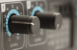 Closeup of a gain knob on a recording interface